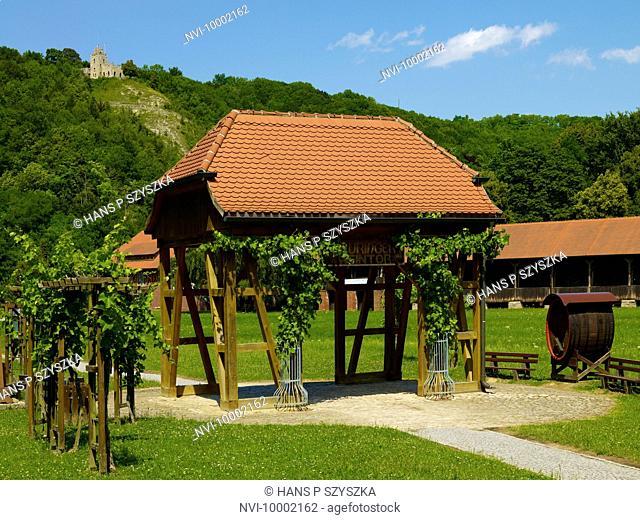 Thuringian Wine Gate with Sonnenburg, Bad Sulza, Thuringia, Germany