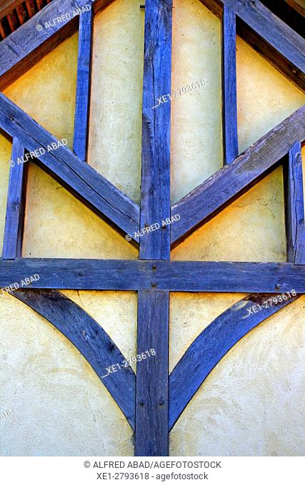 Wall with wooden structure, Guédelon castle, Treigny, France