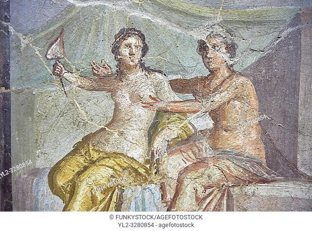 Mars caressing Venus a Roman erotic fresco painting from Pompeii 1st cent AD , from the Casa del Meleagro, inv no 9250 , Secret Museum or Secret Cabinet