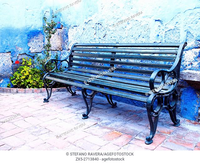A bench in Santa Catalina Monastery - Arequipa, Peru