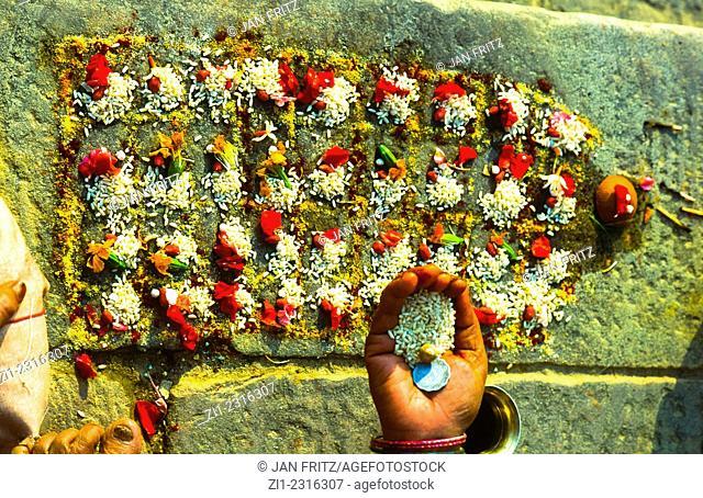 ritual at Ganga riverbank in varanasi, india