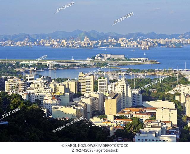 Brazil, City of Rio de Janeiro, View over Gloria from Mirante do Rato Molhado in Santa Teresa