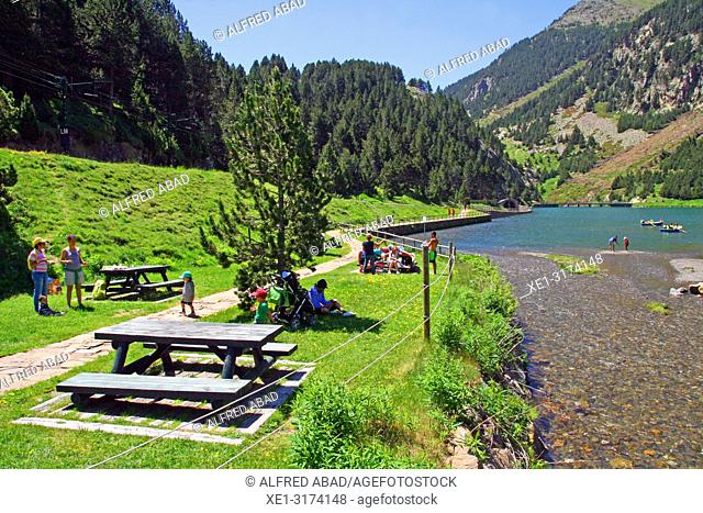 picnic area in the reservoir, Vall de Nuria, Girona, Catalonia, Spain