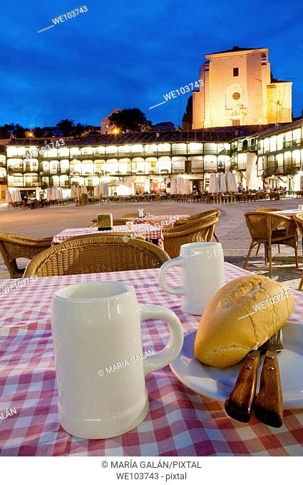 Terrace in Main Square, night view. Chinchón, Madrid province, Spain