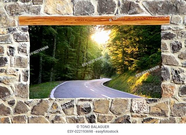 stone masonry wall window road forest curve view