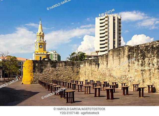 View to the cathedral with clock tower in Cartagena historic walled city center. Bolivar , Colombia, South America