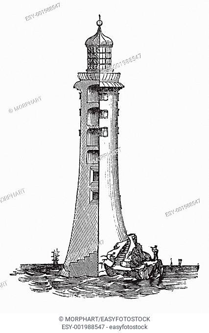 eddystone lighthouse, in england, united kingdom, vintage engraved  illustration trousset encyclopedia 1886 -