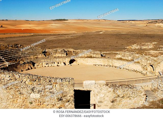Amphitheater and ruins of the Celtiberian and Roman town of Segobriga, archaeological site, II century, Saelices, province of Cuenca, Castilla La Mancha, Spain