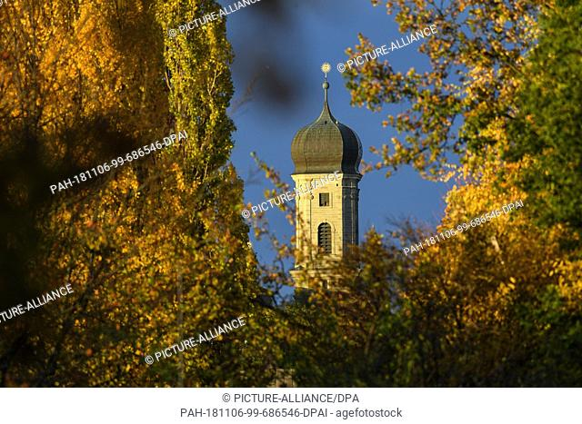 06 November 2018, Baden-Wuerttemberg, Friedrichshafen: One of the bell towers of the castle church can be seen behind autumn-coloured trees