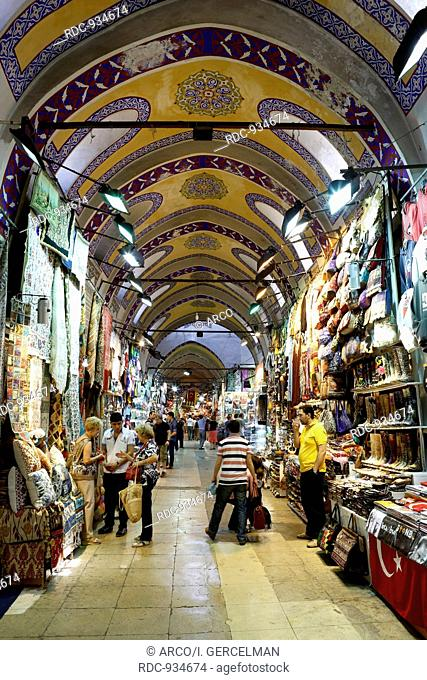 ISTANBUL - TURKEY, MAY 24. People and tourists visit and shopping in Spice bazaar on May 24, 2013. Spirce Bazaar is in Fatih district of Istanbul, Turkey