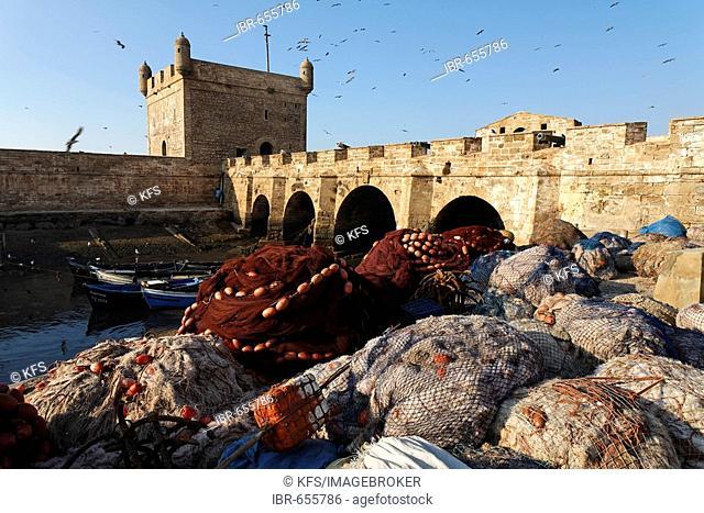Folded-up fishing nets at Scala du Port Fortress, Essaouira, Morocco, Africa