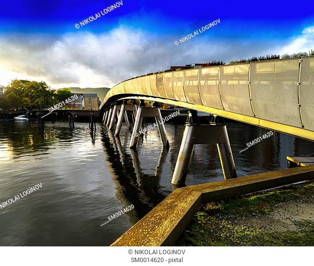Horizzontal vivid Norway town bridge background backdrop