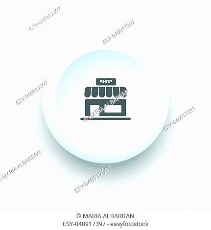 Shop icon on a white simple button