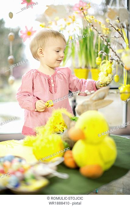 Little Girl Playing With Easter Decoration, Osijek, Croatia, Euope