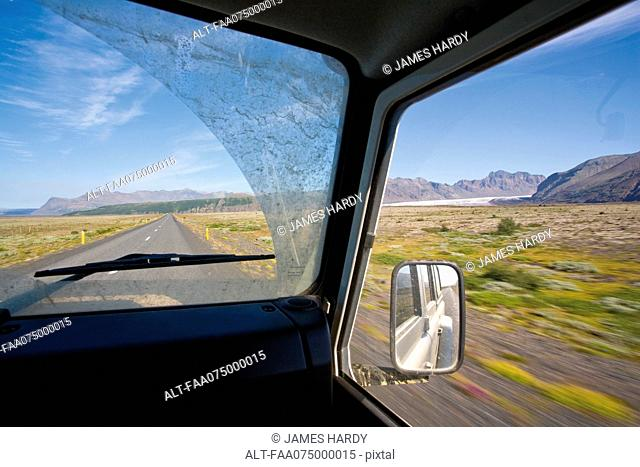 Driving through Vatnajkull National Park formerly Skaftafell National Park, Iceland