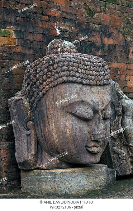 Statue of Buddha in heritage Buddhist excavated site , Udayagiri , Orissa , India