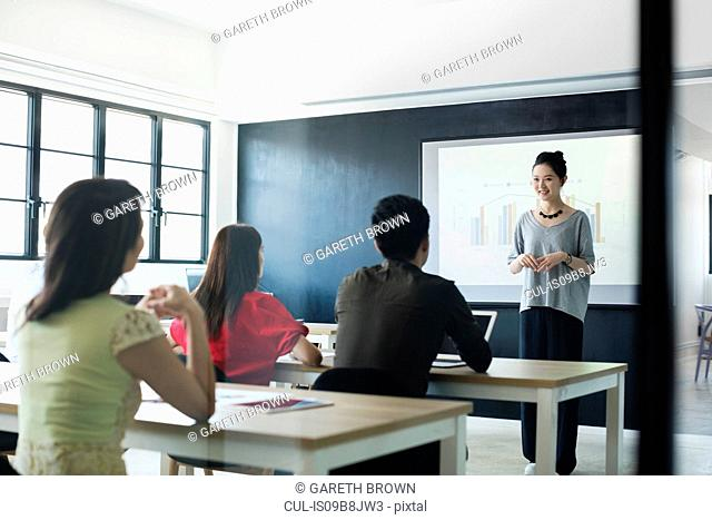 Lecturer delivering lesson in class