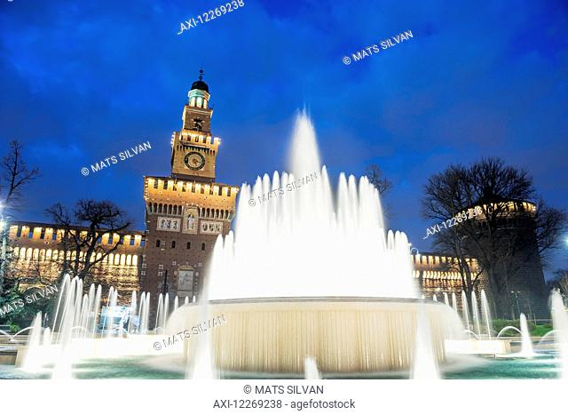 Sforza castle and water fountain; Milan, Lombardy, Italy