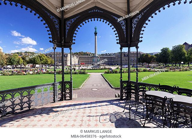 Bandstand at the Schlossplatz (square) with New Palace, Stuttgart, Baden-Wurttemberg, Germany