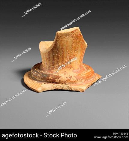 Terracotta sherd from the mouth of a vase with neck ridge. Period: Late Minoan I; Date: ca. 1600-1450 B.C; Culture: Minoan; Medium: Terracotta; Dark on Light;...