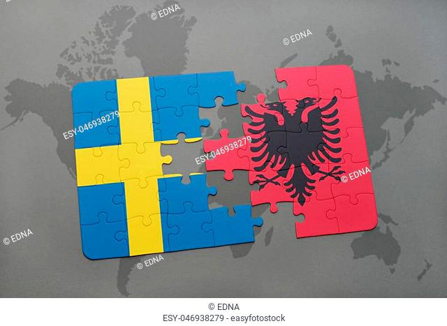 puzzle with the national flag of sweden and albania on a world map background. 3D illustration
