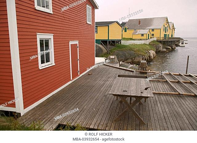 Canada, Newfoundland, Kittiwake Coast, Newtown, residences, terrace, table, North America, place, fisher-place, houses, fisher-houses, framehouses