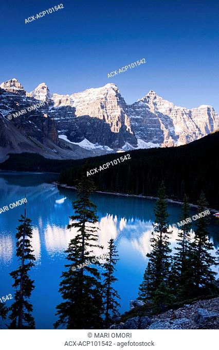 Sunrise at Moraine Lake, in Banff National Park