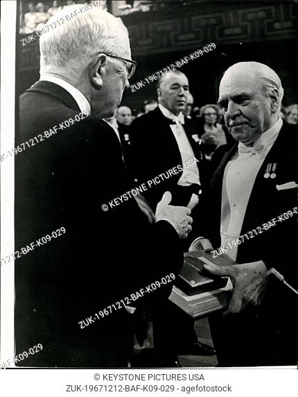 Dec. 12, 1967 - Nobel Prize awards in Stockholm.: At a ceremony in the Concert Hall, Stockholm, on Sunday (Dec 10), King Gustav presented this year's Nobel...