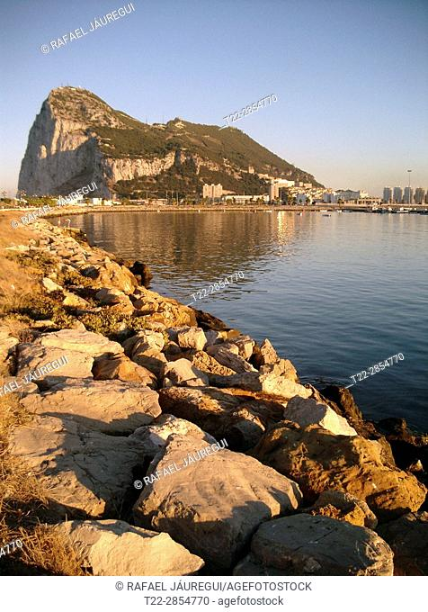 Algeciras (Spain). View and sunset of the rock of Gibraltar from the bay of Algeciras