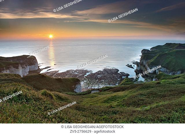 Flamborough Head at sunrise. Bridlington, Yorkshire, England, Uk, Gb