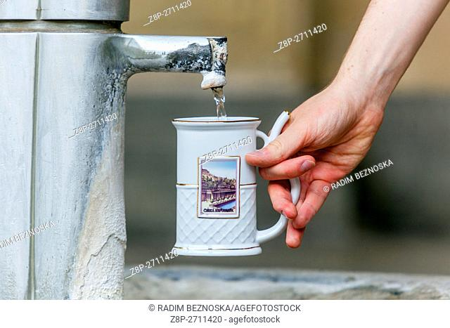 Spa cup for a mineral water, Karlovy Vary (Carlsbad), spa town, West Bohemia, Czech Republic