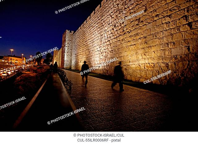 Jerusalem, Old City. The illuminated walls at night, Israel