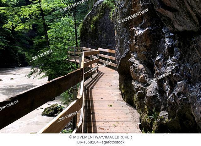 Wooden boardwalk through the Rappenlochschlucht gorge near Guetle, Dornbirn, Vorarlberg, Austria, Europe