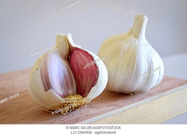 Garlic. Two garlics on a wooden surface