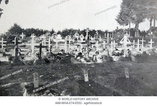 Photograph of a German cemetery in Soissons, France. Dated 1914