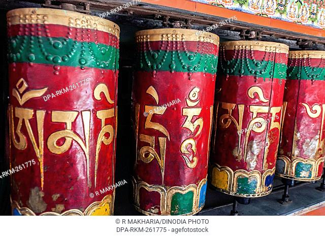 prayer wheels, Kalachakra Temple, Himachal Pradesh, India, Asia