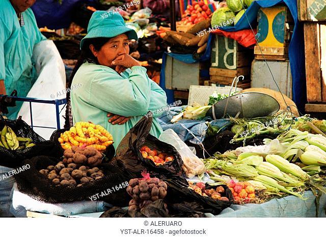 Woman, seller, trade, food, Bolivia