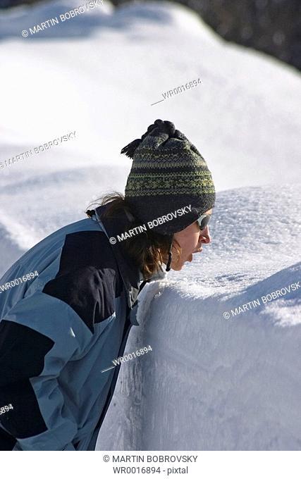 woman / snow wall