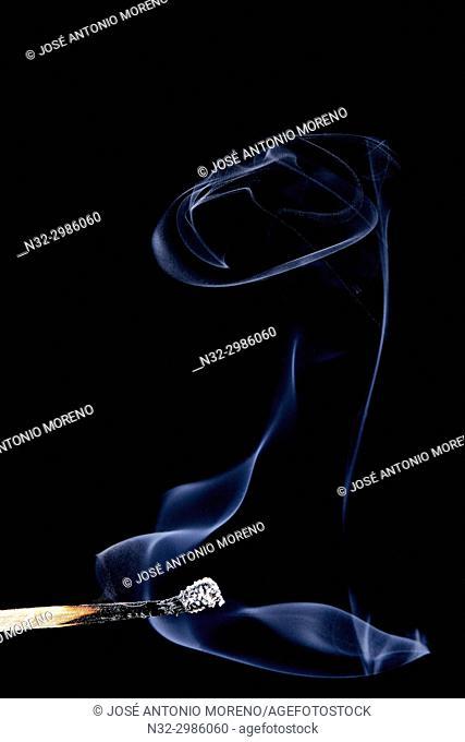 Andalusia, Benalmadena, Phosphorus flame , Smoke from a match, Lighting a match, Malaga province, Spain