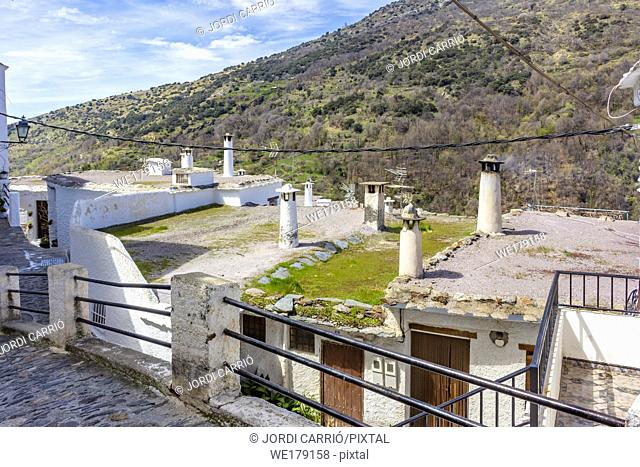 Pampaneira, Andalusia, Spain: Terrados of the houses of La Alpujarra. View of the typical terraces on the roof of the white houses