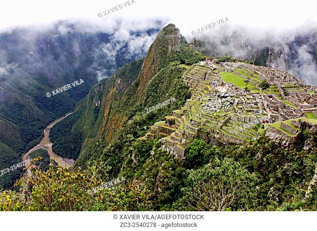 Machu Picchu, an ancient Inca city of the fifteenth century, the Cordillera of the Andes, Peru, South America