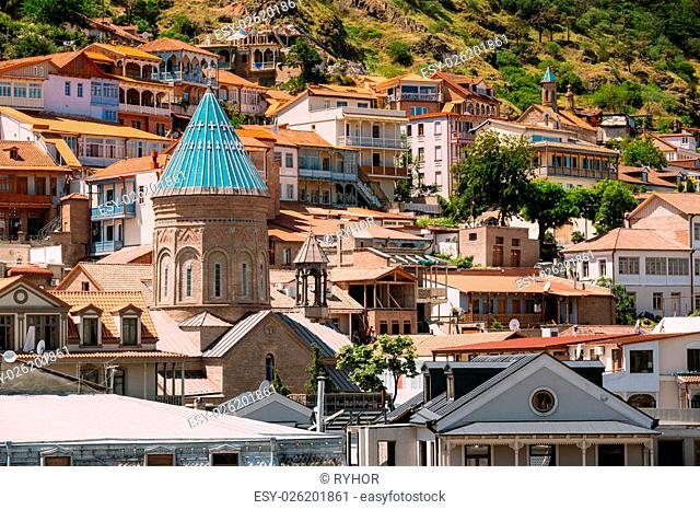 Scenic View Of Tbilisi Old Town, Georgia. Beautiful Architecture In Historic District