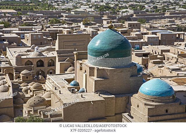 Skyline, Pahlavon Mahmud Mausoleum, Khiva, Uzbekistan