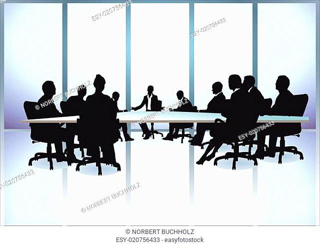 Gruppe von Geschäftsleuten in einer Sitzung im Büro