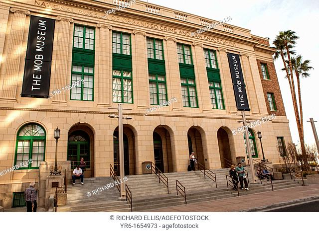 Exterior view of the Mob Museum opened in a former courthouse in Las Vegas on February 14, 2012  The $42 million dollar museum features exhibits on organized...