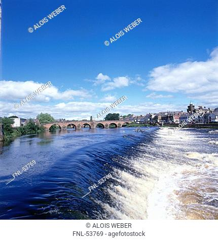 Bridge across river, River Nith, Devorgilla Bridge, Dumfries, Scotland