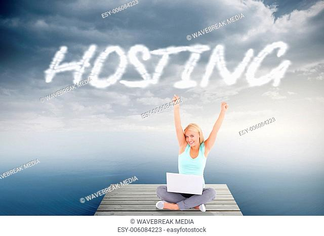 Hosting against cloudy sky over ocean
