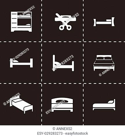 Vector bed icon set on black background