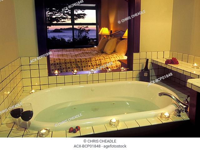 Middle Beach Lodge room interior , Tofino, Vancouver Island, British Columbia, Canada