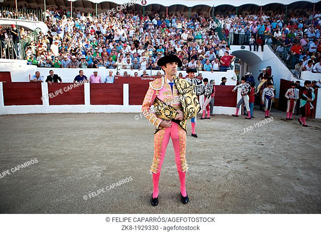 The Spanish Bullfighter Jose Tomas initiating the paseillo in the bullring in Linares, Jaen province, Spain 29 august 2011